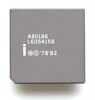 Intel 80186 - An Intel A80186 processor with a gray heat spreader.