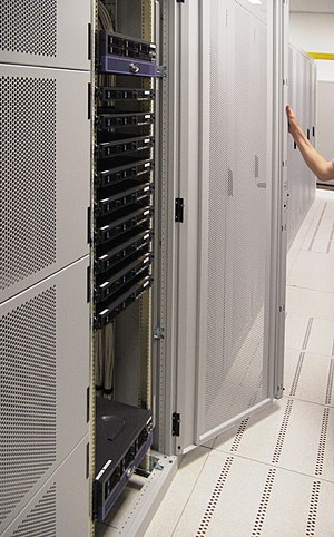 "Web hosting service - A typical server ""rack"" commonly seen in colocation centres"