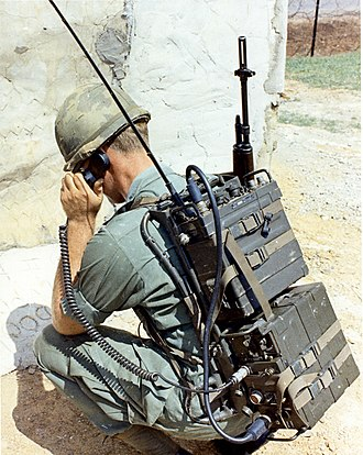 "AN/PRC-77 Portable Transceiver - Soldier using a PRC-77 (top) with the KY-38 ""Manpack,"" part of the NESTOR voice encryption system that was used during the Vietnam War."