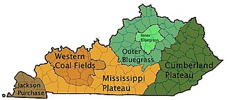 Kentucky - Kentucky's regions (click on image for color-coding information.)