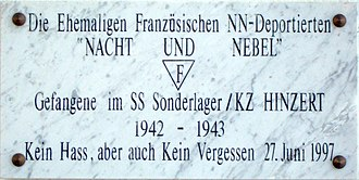 "War crimes of the Wehrmacht - A commemorative plaque to the French victims at Hinzert concentration camp, using the expressions ""Nacht und Nebel"" and ""NN-Deported"""