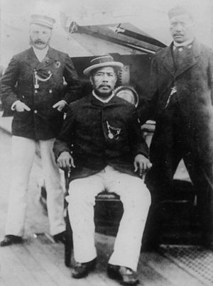 George W. Macfarlane - Kalākaua with Colonel Macfarlane and Colonel Robert Hoapili Baker aboard the USS ''Charleston'' in route to San Francisco, California