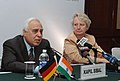 "Kapil Sibal and the Federal Minister of Education & Research, Germany, Dr. Annette Schavan addressing the joint press conference at the inauguration of the ""Indo-German Science & Technology Centre"", in New Delhi.jpg"