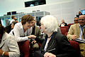 Karen Ellemann, Danmarks miljominister och minister for nordiskt samarbete halsra pa Johanna Sigurdardottir Islands statsminister. Nordiskt globaliseringsforum 2010.jpg