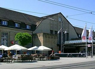 Karlsruhe Hauptbahnhof railway station in Südweststadt, Germany