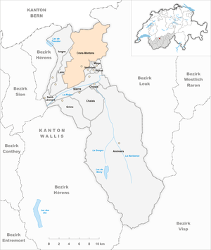 Crans-Montana - Image: Karte Gemeinde Crans Montana 2017
