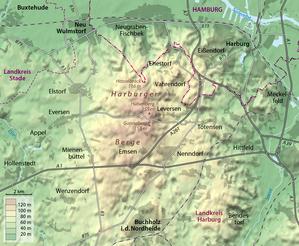 Harburg Hills - Relief map of the Harburg Hills
