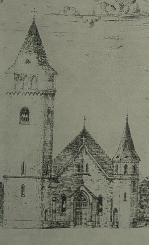 Church of Holy Trinity, Mošovce - The newly built church in 1913, before the tower's demolition