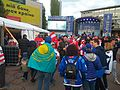 Kazakhstan and Austria fans at 2017 IIHF World Championship Division I.jpg