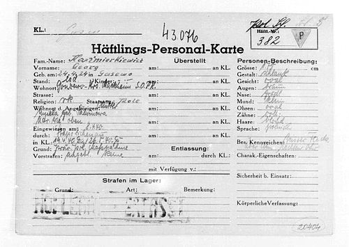 Camp file of a Polish political prisoner No. 382, Jerzy Kaźmirkiewicz - Mauthausen-Gusen concentration camp