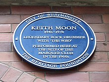 Keith Moon's blue plaque at the Marquee Club, London