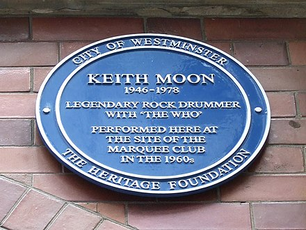 Keith Moon's plaque, 90 Wardour Street. Keith moon at marquee.JPG