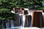 Water flowing down the fountain at Keller Fountain Park