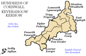 Hundreds of Cornwall in the early 19th century, (formerly known as Cornish Shires).