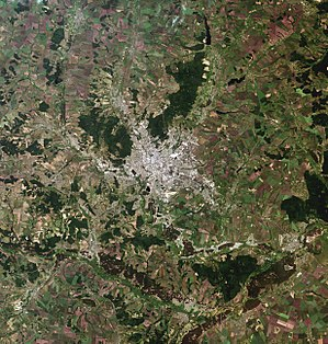 Kharkiv, Ukraine, city and vicinities, LandSat-5 satellite image, near natural colors, 2011-06-18