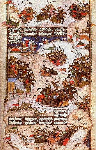 Sasanian civil war of 589-591 - Medieval Iranian art illustrating Khosrow II and Bahram Chobin in a battle