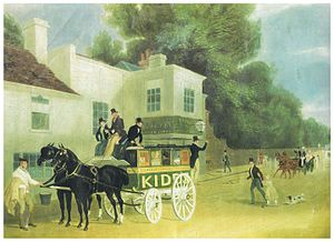 James Pollard - Kidd's Omnibus outside the Angel Inn, Brentford, c. 1840.