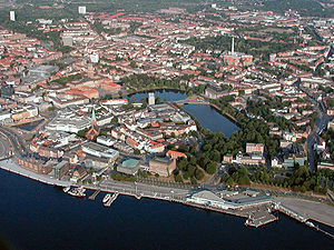 Kiel - Mid-August 2003 aerial view of the city centre