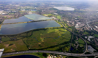 Staines Moor - Staines Moor in foreground with King George VI and Staines reservoirs behind.