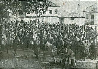 Slavic speakers of Greek Macedonia - IMRO revolutionaries in Klisoura of Kastoria during the Ilinden Uprising of 1903.