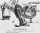 "Welsh journalist and druidist Owen ""Morien"" Morgan destroys an image of Saint David with a cudgel, Dame Wales looks on in dismay, 1899"