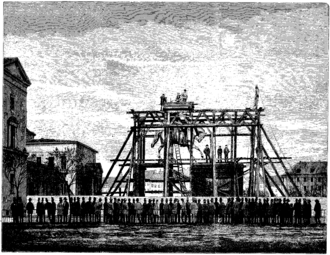 Equestrian statue of Frederick VII - The monument under construction in 1873, illustration from Illustreret Tidende