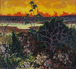 Landscape with a red cloud
