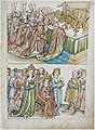 Konstanzer Richental Chronik Die Weihnachtsmesse Der Papst betet die Weihnachtsmesse, Königin Barbara wohnt sitzend der Messe bei 21r.jpg