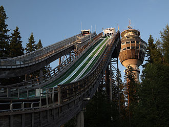 Kuopio - Puijo Ski Jumps with the Observation Tower in the background