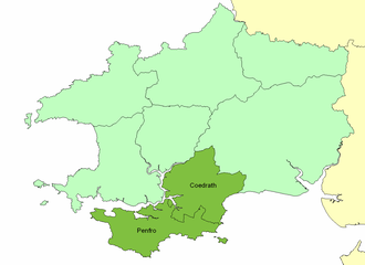 Cantref of Penfro - Location of the cantref of Penfro within ancient Dyfed