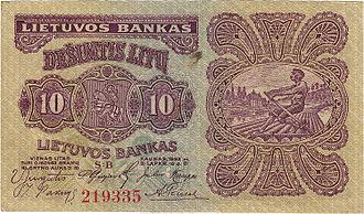 Lithuanian litas - 10 litų banknote (1922)