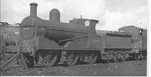 Rose Grove railway station - LYR Class 0-6-0 at Rose Grove shed in 1959 with the buildings in the background