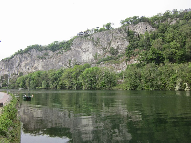 La Meuse and the Rochers de Frênes, Profondeville, in the Belgian province of Namur