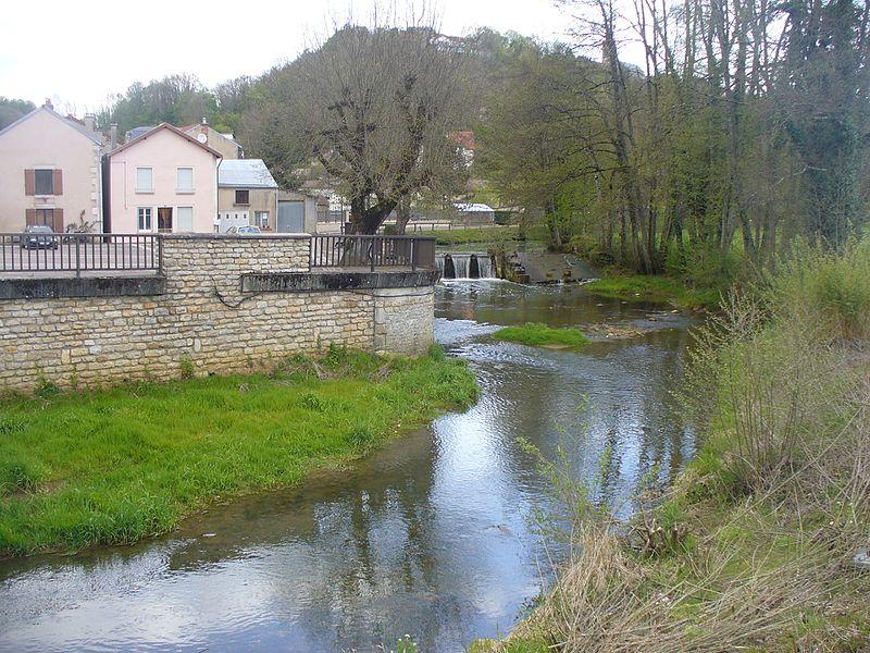 Photographie de La traire prise depuis Nogent dit le-Bas (Haute-Marne) sur la rive gauche.