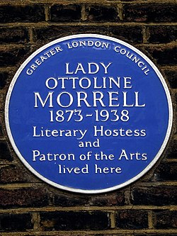 Lady ottoline morrell 1873 1938 literary hostess and patron of the arts lived here