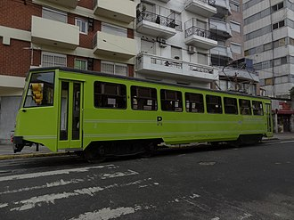 Premetro (Buenos Aires) - One of the refurbished La Brugeoise cars that ran temporarily on the line, now part of the Buenos Aires Heritage Tramway.