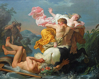 Louis-Jean-François Lagrenée - The Abduction of Deianeira by the Centaur Nessus, (1755).