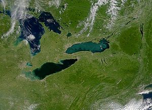Eastern Great Lakes and Hudson Lowlands (ecoregion) - Image: Lakes Erie and Ontario satellite