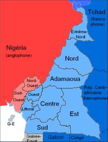 Ripartizione delle lingue ufficiali (francese ed inglese) in Camerun