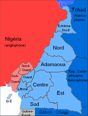 Languages of cameroon wikipedia map of cameroons official languages blue french speaking regions and countries red english speaking regions and countries white trilingual spanish publicscrutiny Images