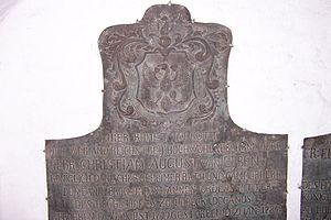 Christian August von Eyben - The von Eybens' gravestone in Lübeck Cathedral