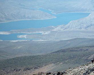 Lar Dam - Lar lake from Damavand mountain.