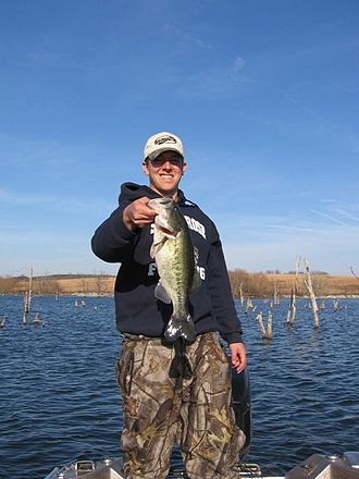 Bass fishing - M. salmoides (largemouth bass) caught by an angler in Iowa