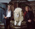 Las Vegas, Nevada's headlining illusionists Siegfried & Roy (Siegried Fischbacher and Roy Horn) in their private apartment at the Mirage Hotel on the Vegas Strip, along with one of their LCCN2011634013.tif