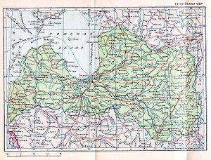 Latvian Soviet Socialist Republic - 1940 Soviet map of the Latvian SSR