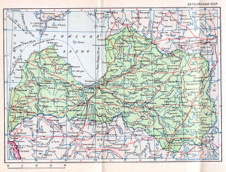 Latvian Soviet Socialist Republic - 1940 Soviet map of the Latvian SSR