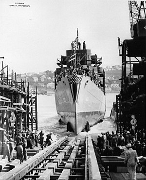 Launch of USS Wintle (DE-25) at the Mare Island Naval Shipyard on 18 February 1943