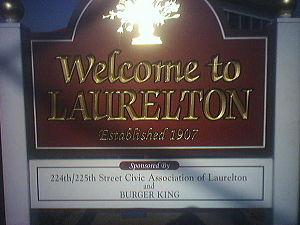 Laurelton, Queens - Welcome to Laurelton sign, sponsored by Burger King