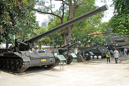 Captured U.S.-supplied armored vehicles and artillery pieces Le musee des Souvenirs de guerre (Ho Chi Minh Ville).jpg