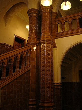 Glazed architectural terra-cotta - Burmantofts faience in the Great Hall of the University of Leeds